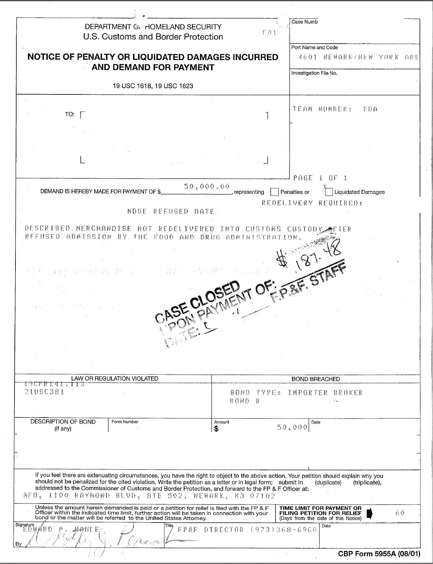 10 - Liquidated Damages Notice & DECISION- FDA Violation